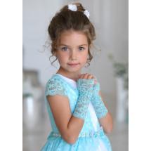 """Митенки бирюзовые кружевные на девочку """"Сью"""" (3-7 лет)"""