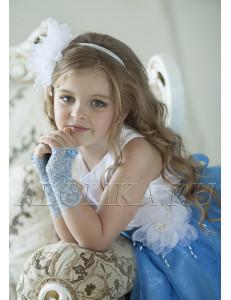 Митенки голубые кружевные на девочку Неженка (3-7 лет)