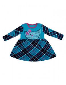 Платье для малышек с длинными рукавами с бирюзовой кошкой