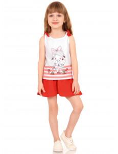 """Комплект летний красного цвета юбка-шорты и майка """"Девочка с мишкой"""""""