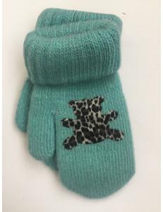 Варежки зимние бирюзового цвета с мишкой