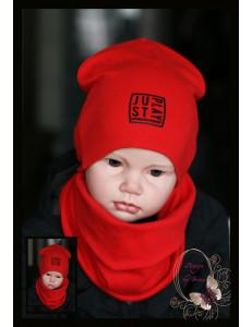 """Комплект красного цвета для мальчика (удлиненная шапка и снуд) """"JustPlay"""""""
