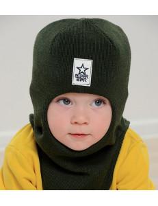"""Шапка-шлем демисезонный цвета хаки для мальчиков """"Звездный воин"""""""